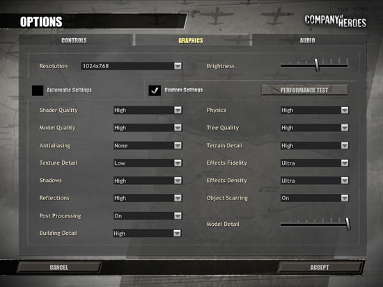 Company of Heroes test settings
